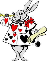 Konijn met kaartspel-kleren die bericht gaat afkondigen